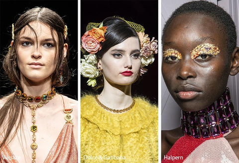 Versace, Dolce & Gabbana and Halpern Costume Crystals & Statement Gems at Fashion Week