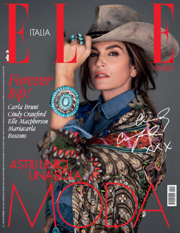 Cindy Crawford covers the four part March 2019 issue of Elle Italia wearing western jewelry
