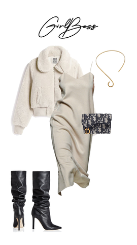 Beige slip dress styled with teddy jacket and Dior handbag