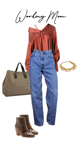 Asymmetrical blouse and mom jeans styled with Louis Vuitton bag and snake skin boots