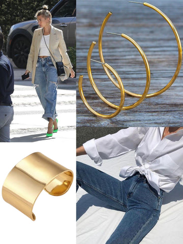 Gold jewelry accompanied with white t-shirts and blue jeans