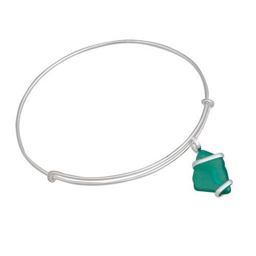 Alpaca Recycled Glass Freeform Adjustable Charm Bangle - Mint | Charles Albert Jewelry