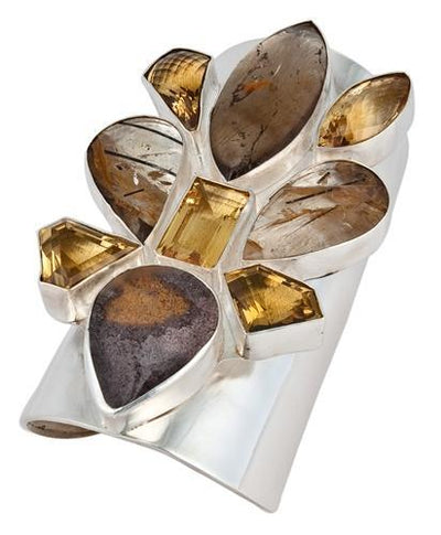 sterling-silver-lodalite-and-citrine-cuff - 1 - Charles Albert Inc