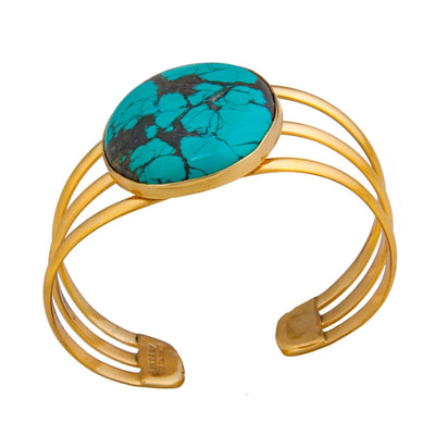 alchemia-oval-turquoise-3-band-cuff - 3 - Charles Albert Inc