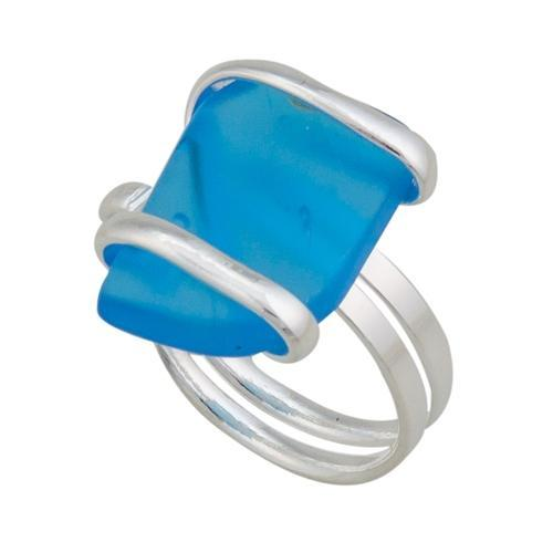 Alpaca Recycled Glass Freeform Rings - Blue | Charles Albert Jewelry