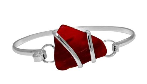 Alpaca Recycled Glass Freeform Bangles - Red | Charles Albert Jewelry