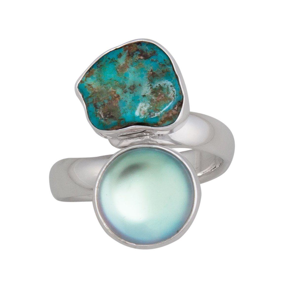 Sterling Silver Luminite & Campo Frio Turquoise Adjustable Ring | Charles Albert Jewelry