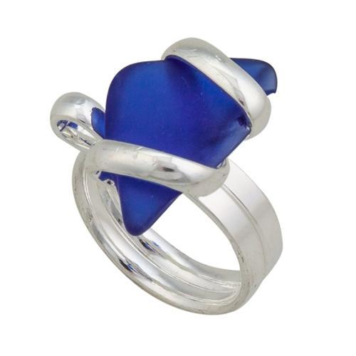 Alpaca Recycled Glass Freeform Rings - Cobalt Blue | Charles Albert Jewelry