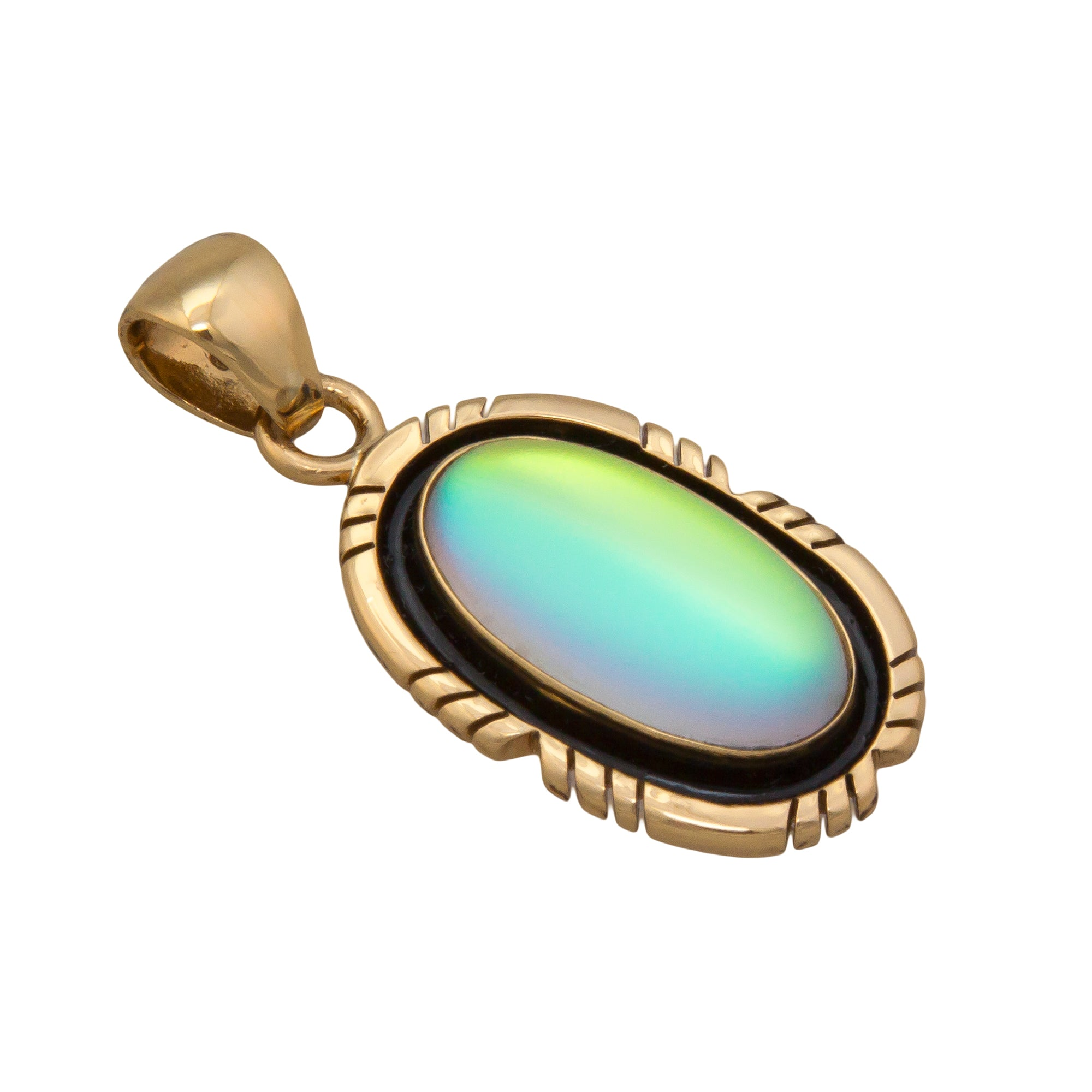 Alchemia Oval Luminite Pendant with Detailed Edge | Charles Albert Jewelry
