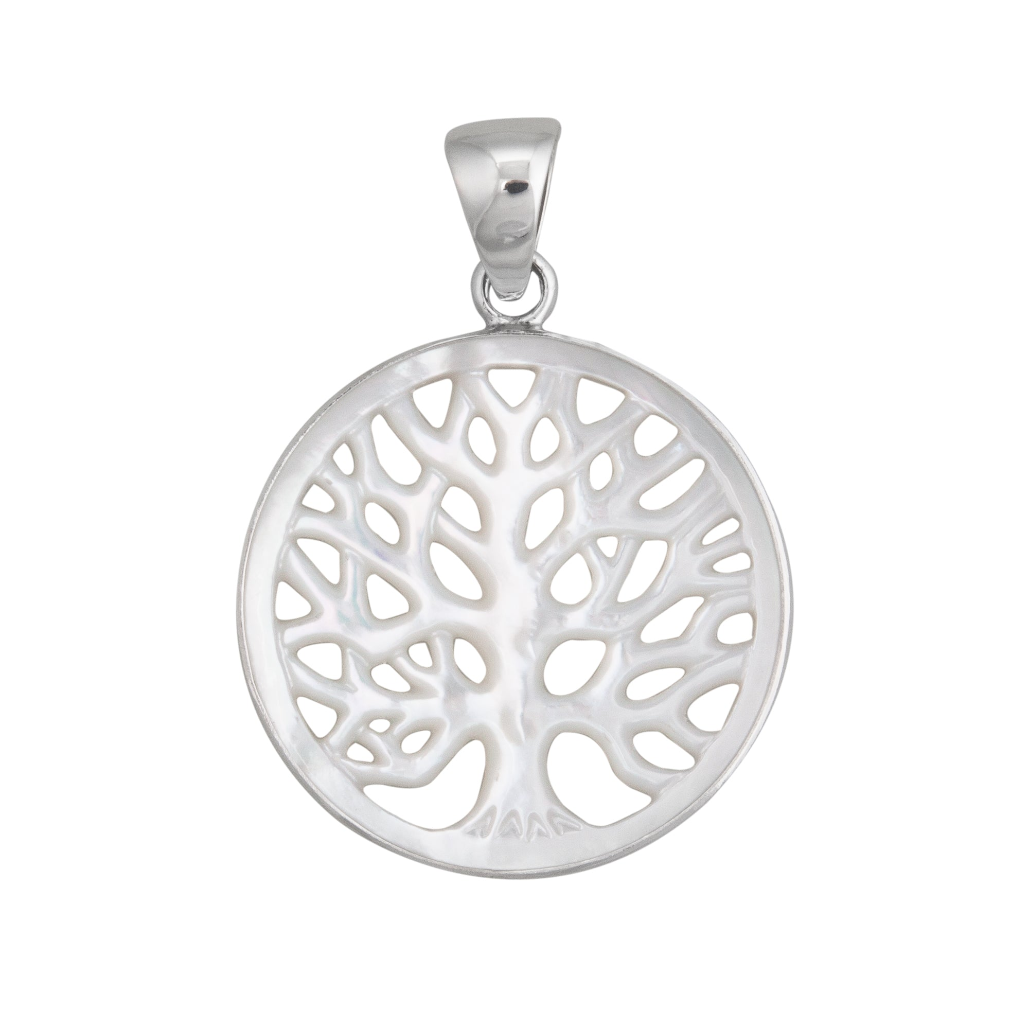 Sterling Silver 40mm Mother of Pearl Tree of Life Pendant