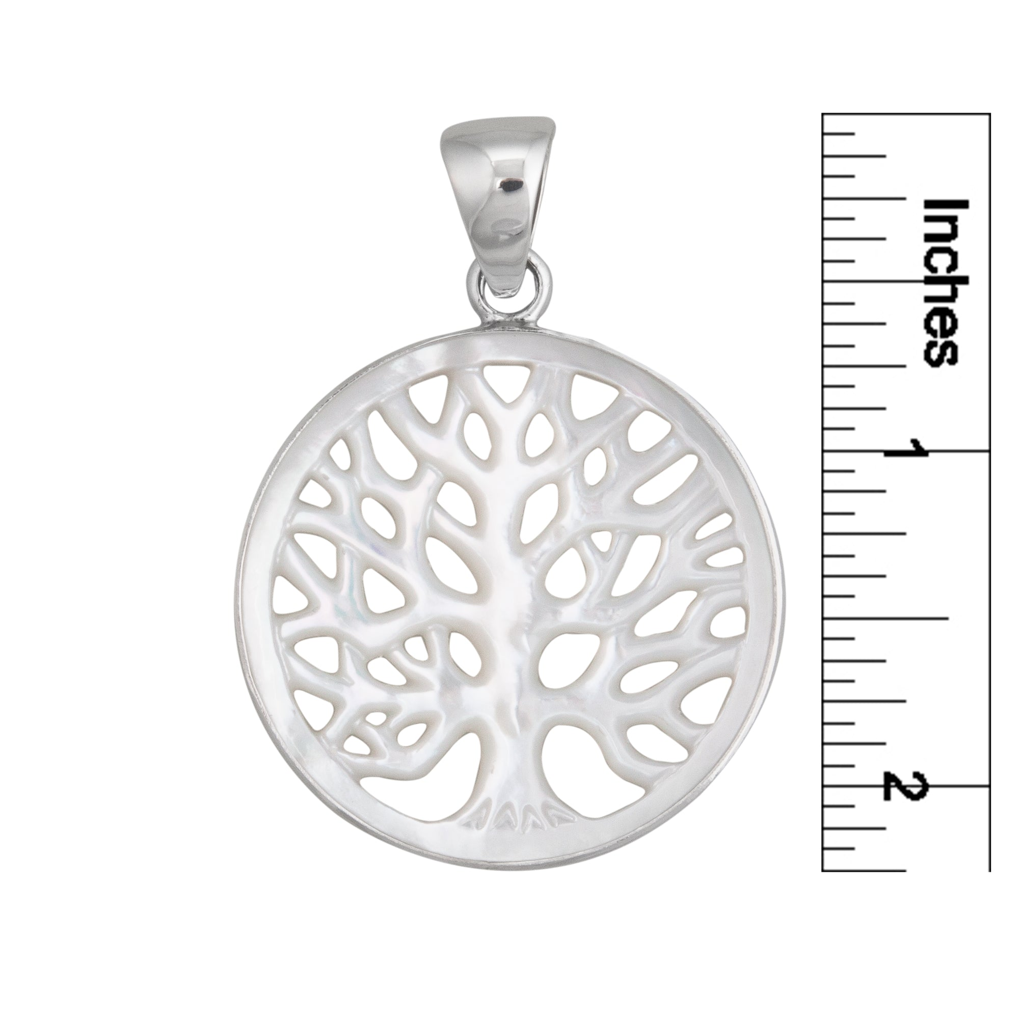 Sterling Silver 40mm Mother of Pearl Tree of Life Pendant | Charles Albert Jewelry