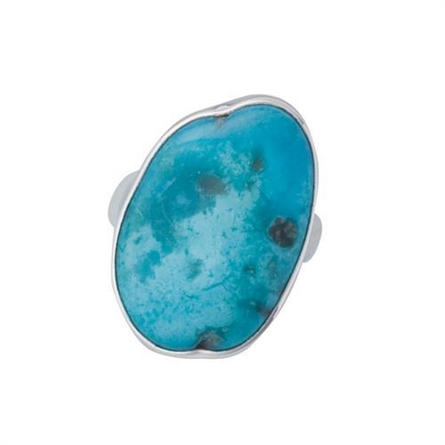 Sterling Silver Sleeping Beauty Turquoise Adjustable Ring