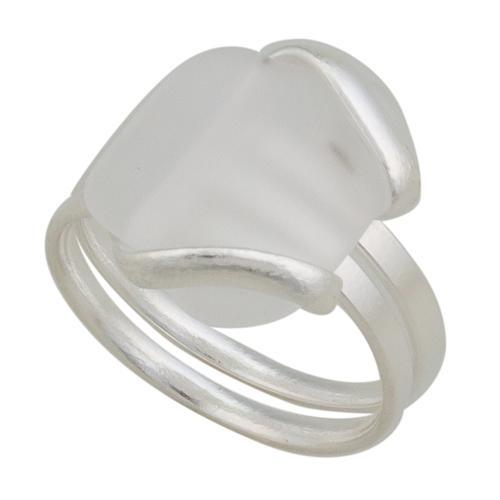 Alpaca Recycled Glass Freeform Rings - White | Charles Albert Jewelry