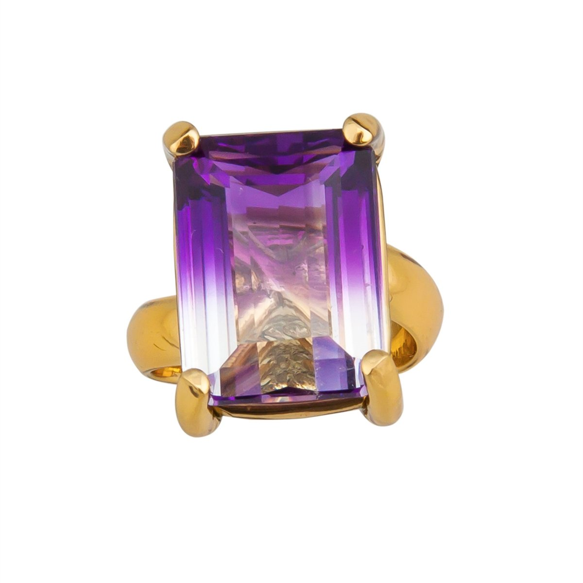 Alchemia Bi-Color Amethyst Prong Set Adjustable Ring