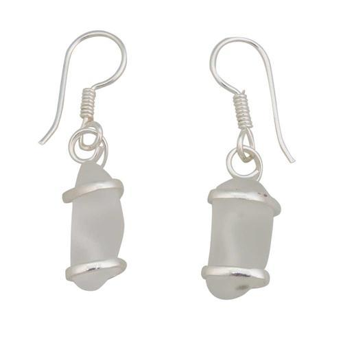 Alpaca Recycled Glass Freeform Earrings - White