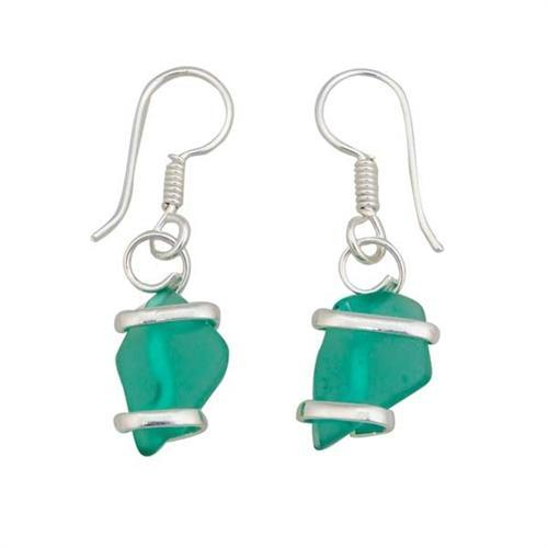 Alpaca Recycled Glass Freeform Earrings - Mint