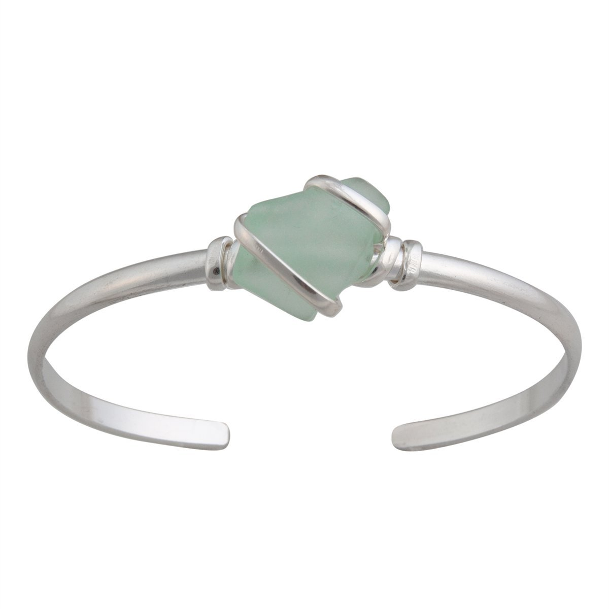 Alpaca Recycled Glass Mini Cuff - Seafoam Green | Charles Albert Jewelry
