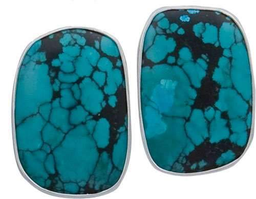 Sterling Silver Turquoise Freeform Clip Earrings