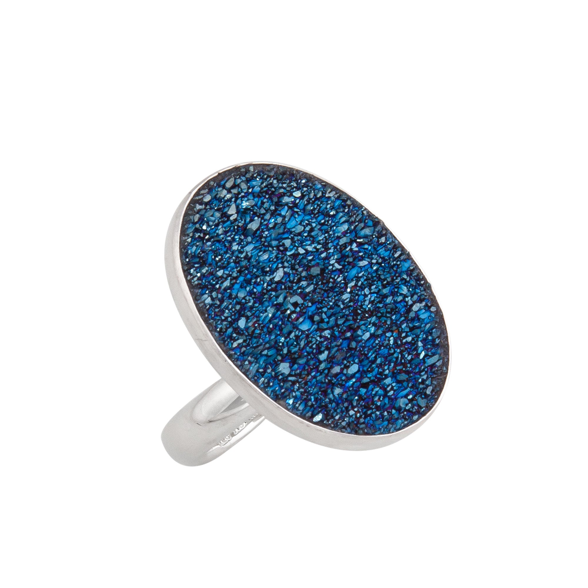 Sterling Silver Cobalt Druse Adjustable Ring | Charles Albert Jewelry