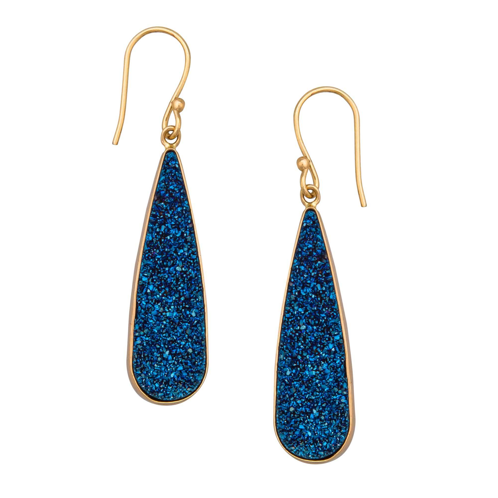 Alchemia Blue Druse Teardrop Earrings | Charles Albert Jewelry
