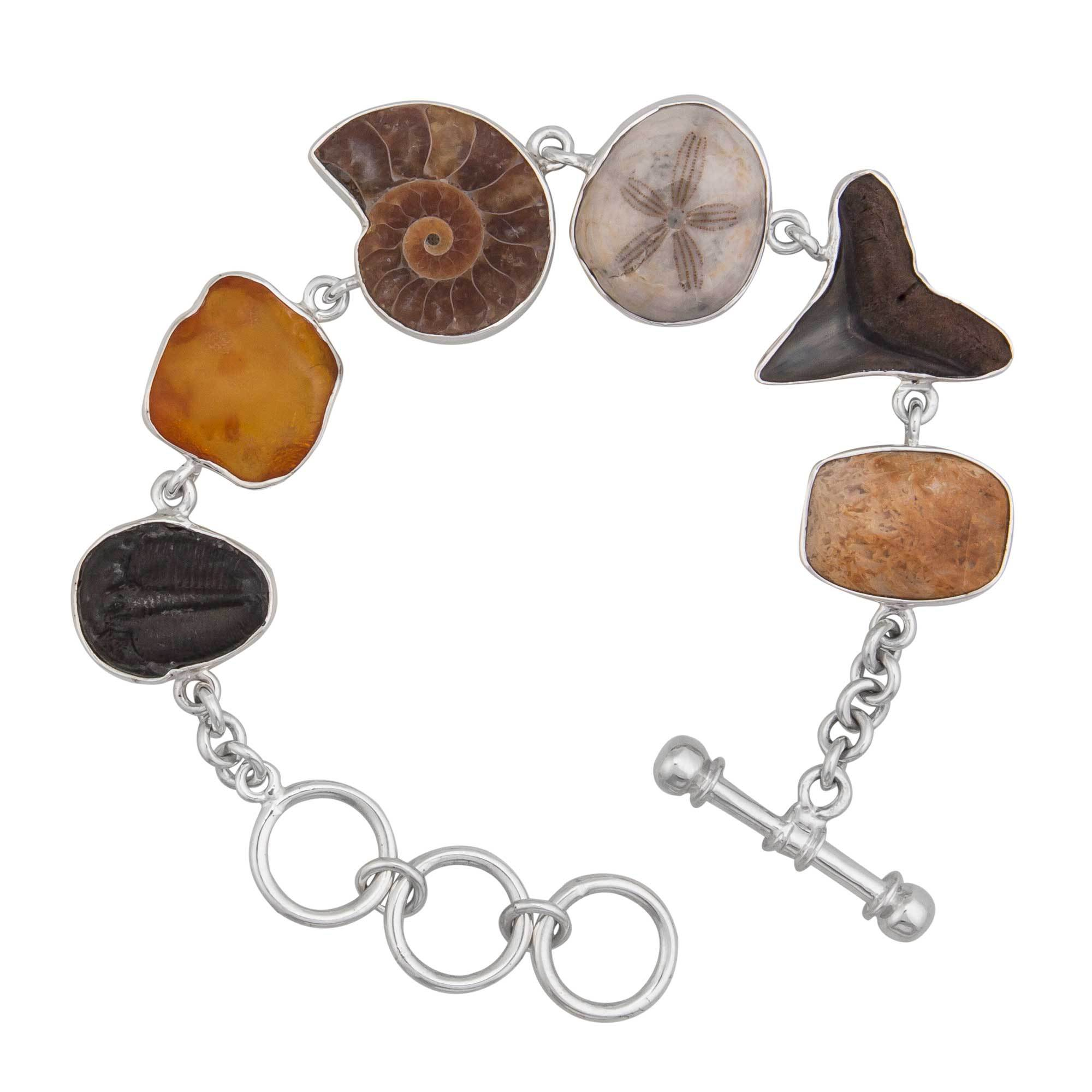 Sterling Silver Small Multi-Fossil Bracelet