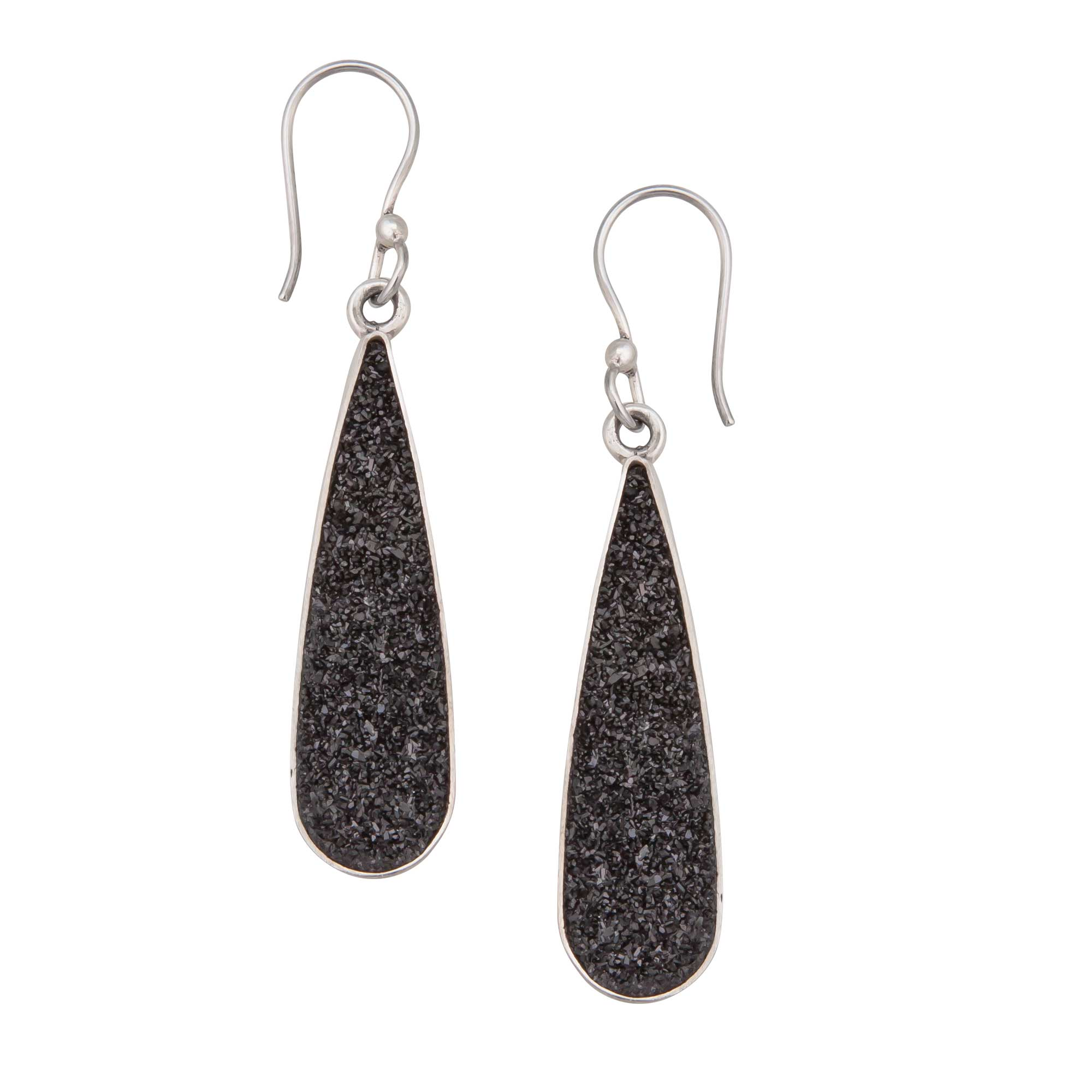 Sterling Silver Teardrop Black Druse Drop Earrings | Charles Albert Jewelry