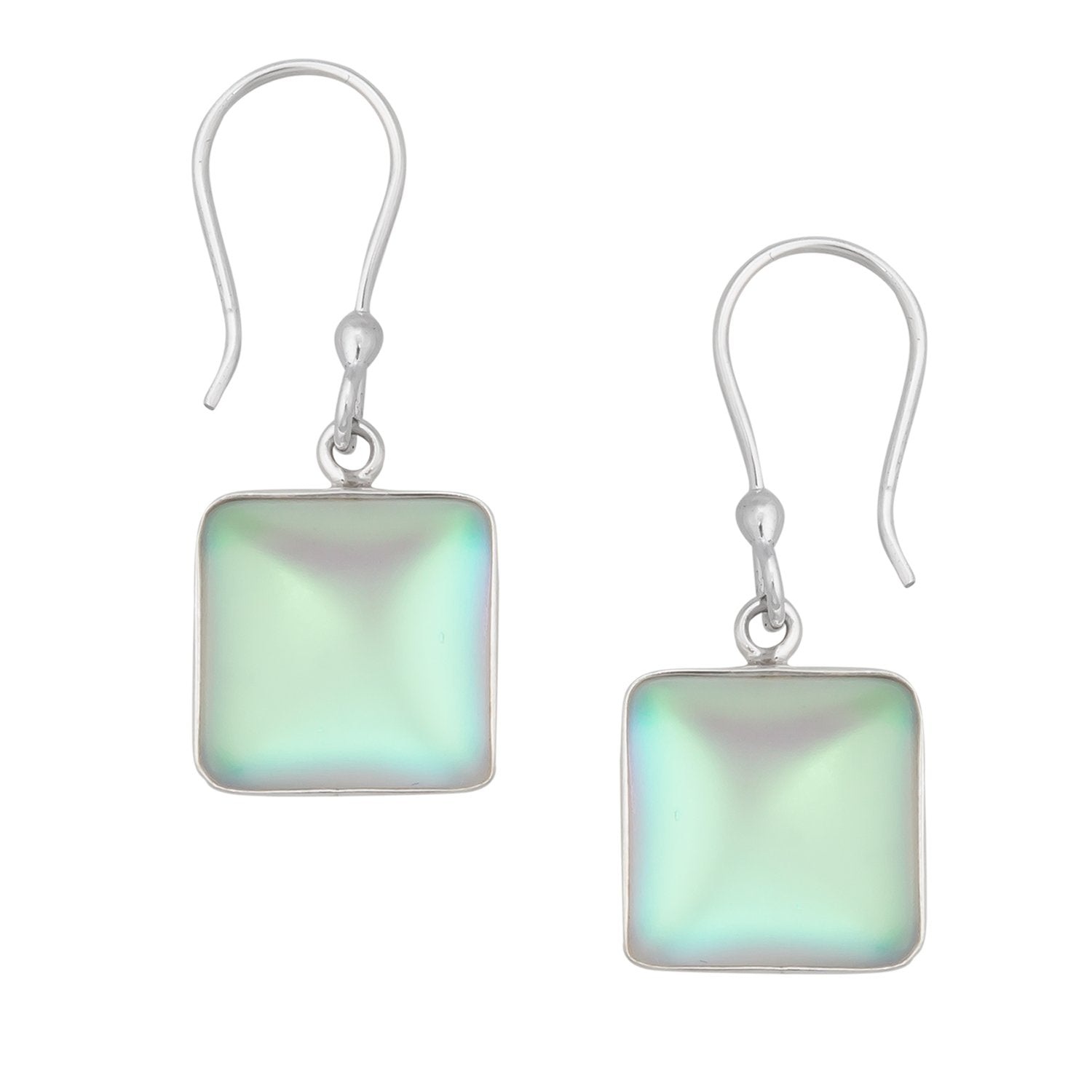 Sterling Silver Square Luminite Drop Earrings