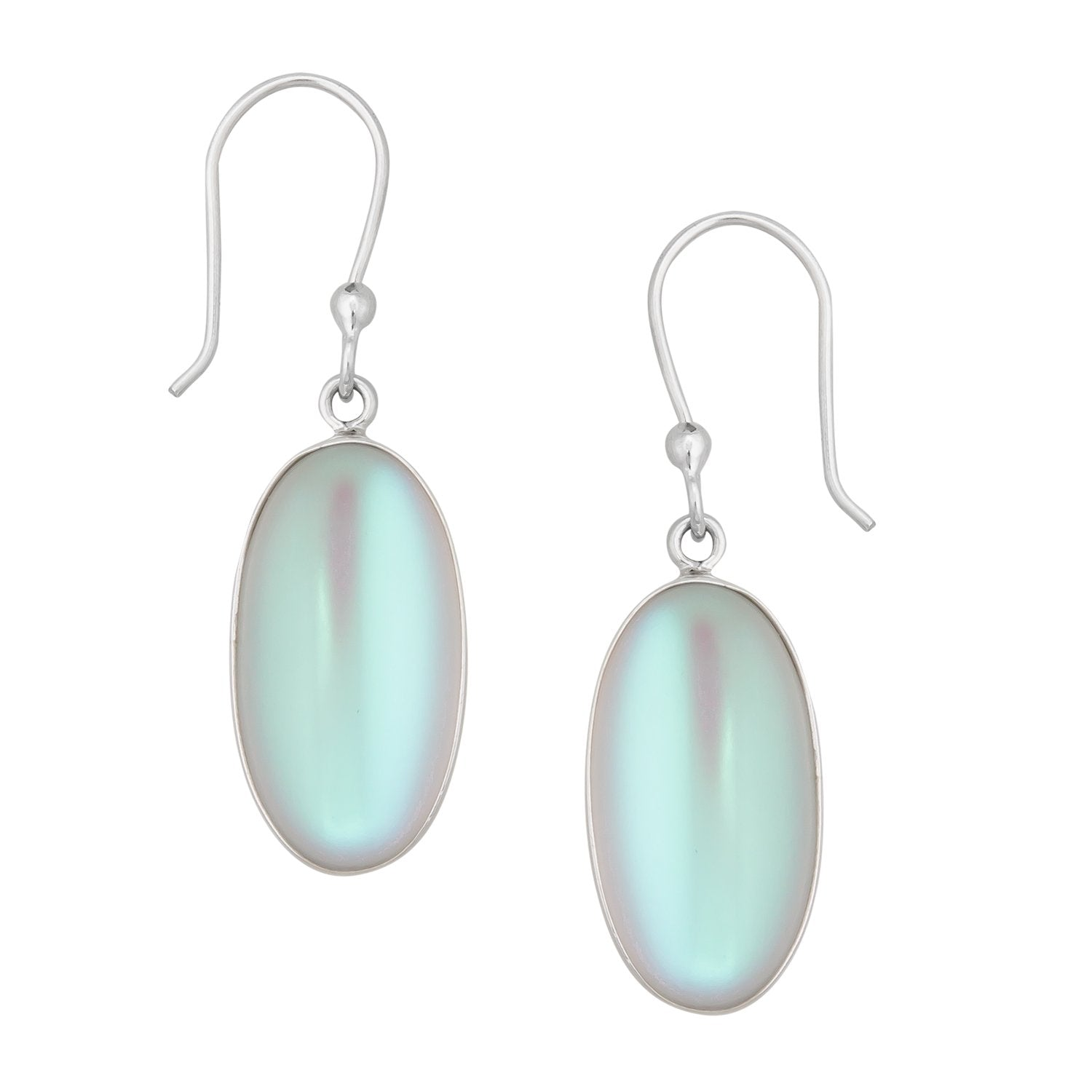 Sterling Silver Oval Luminite Earrings