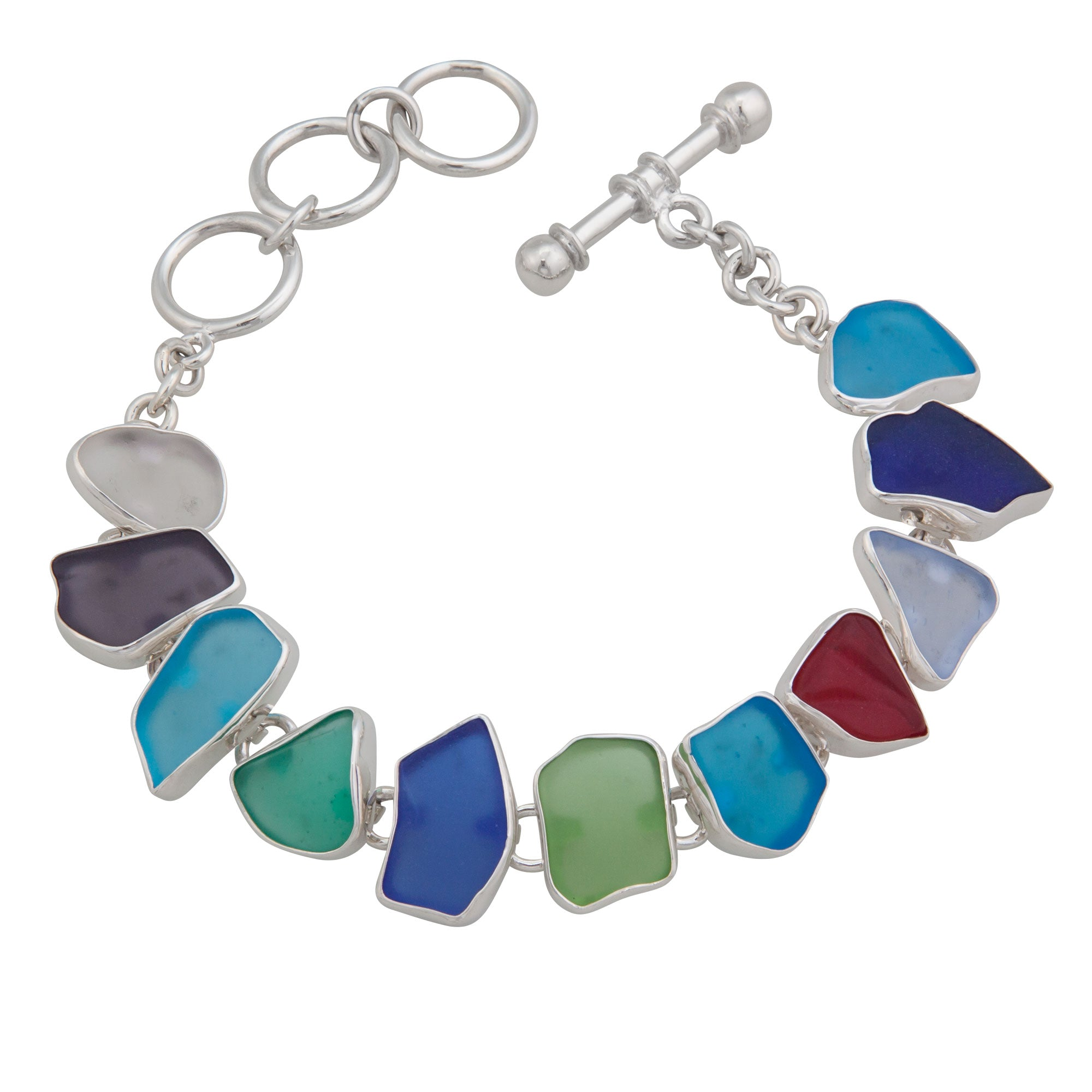 Multi-Color Small Recycled Glass Bracelet | Charles Albert Jewelry