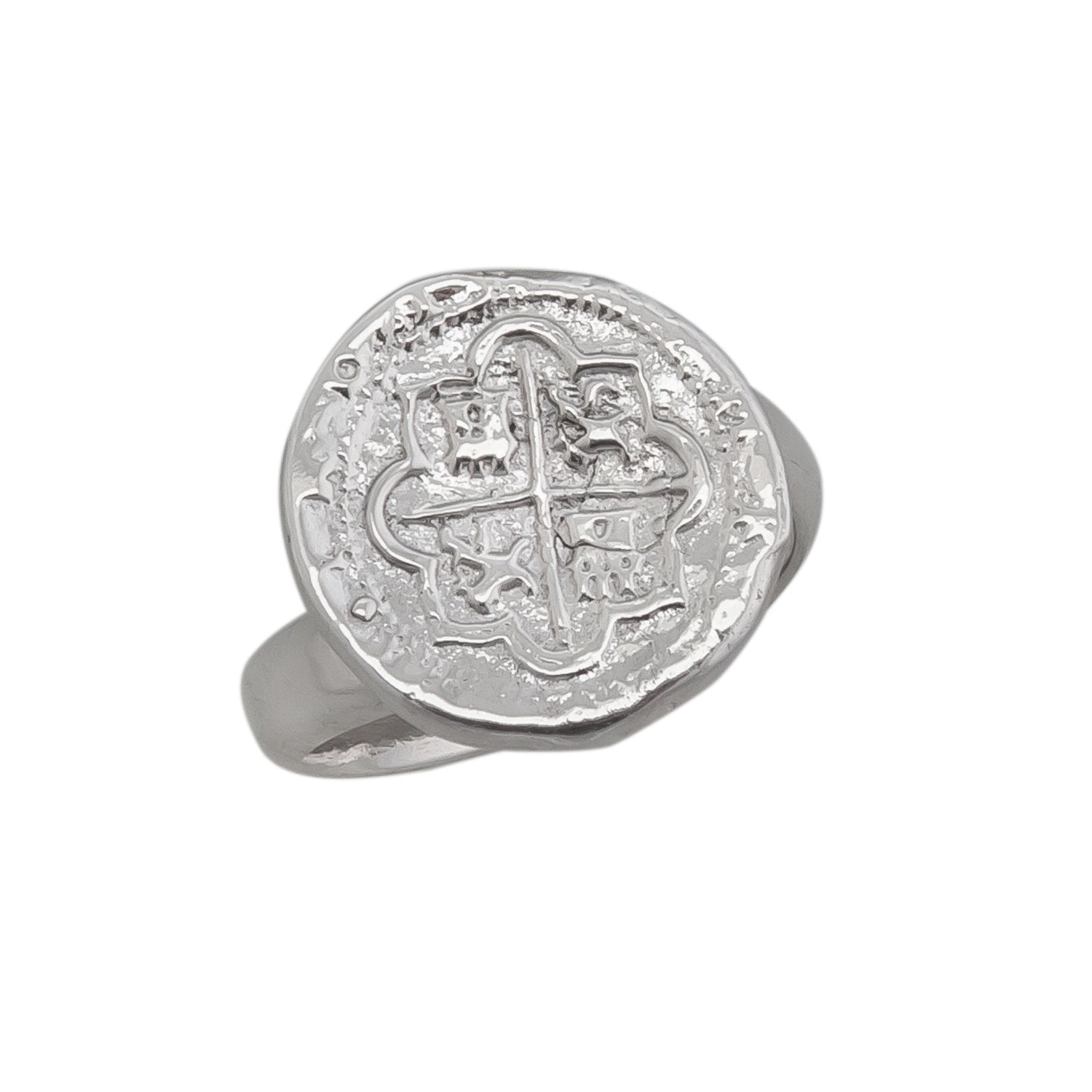 Sterling Silver Replica Spanish Coin Adjustable Ring | Charles Albert Jewelry