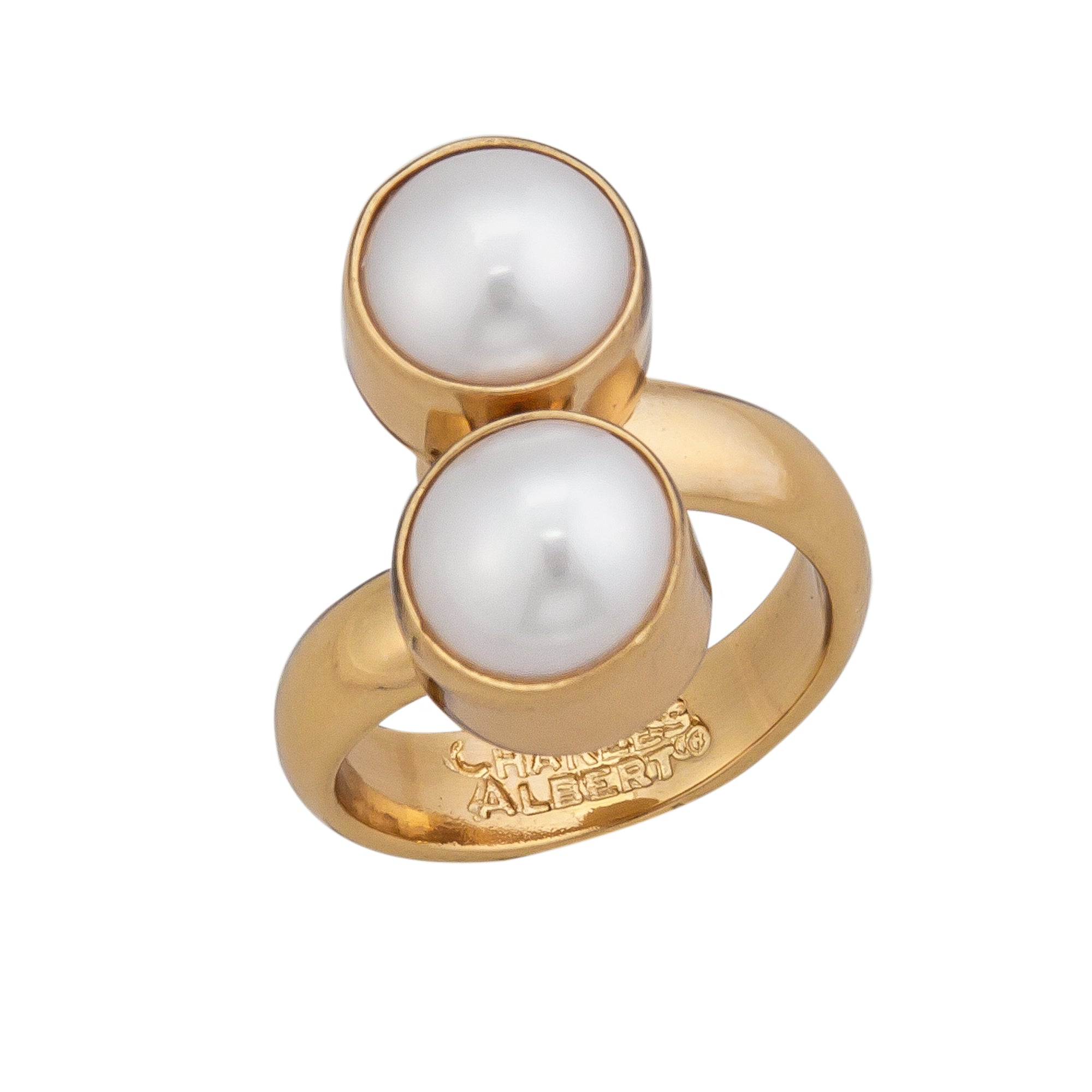 Alchemia Pearl Bypass Adjustable Ring | Charles Albert Jewelry
