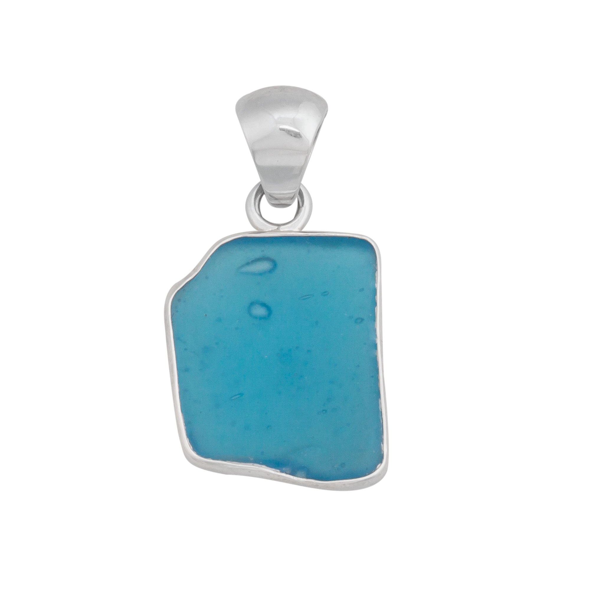 Sterling Silver Aqua Recycled Glass Pendant | Charles Albert Jewelry