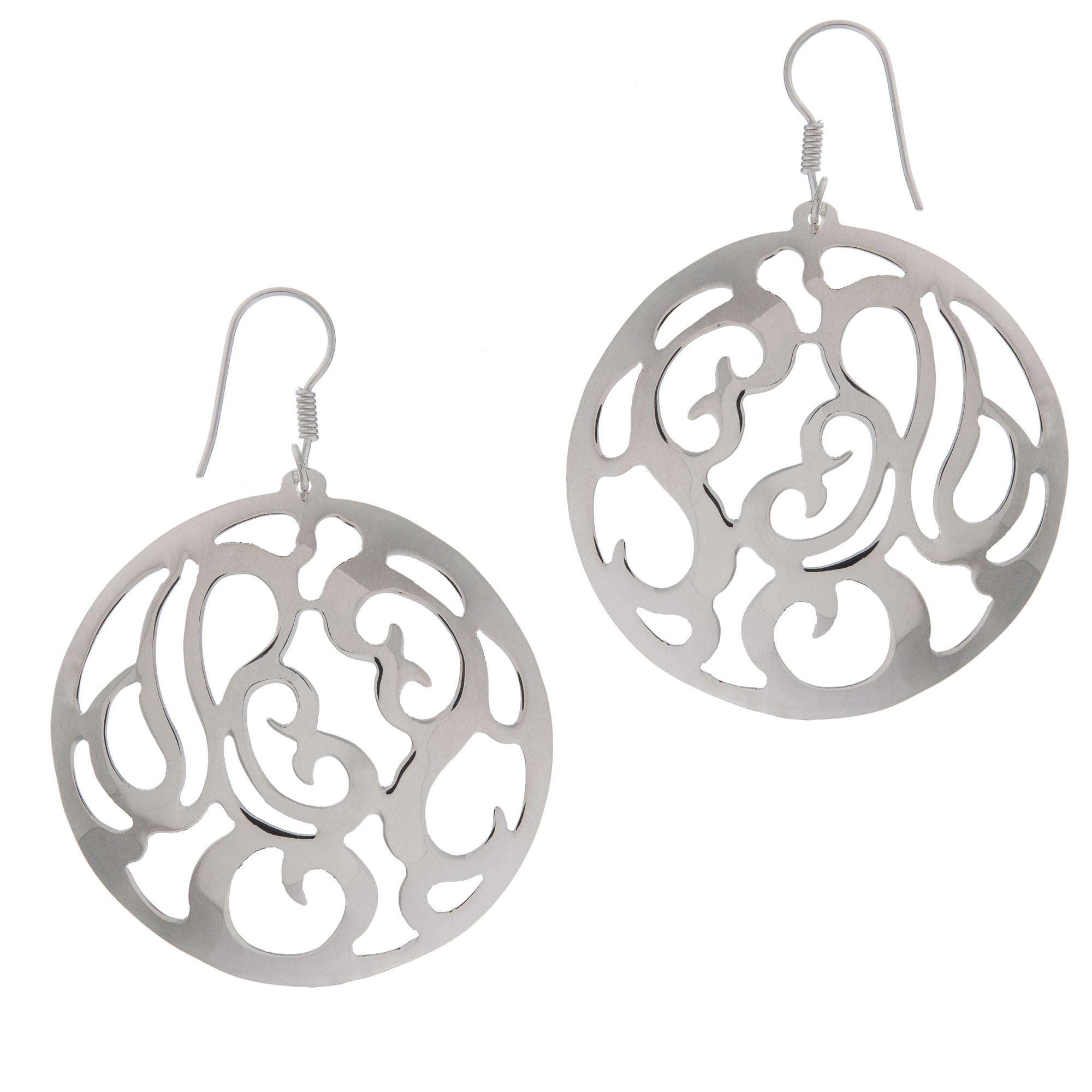 Sterling Silver Round Cut-Out Earrings | Charles Albert Jewelry
