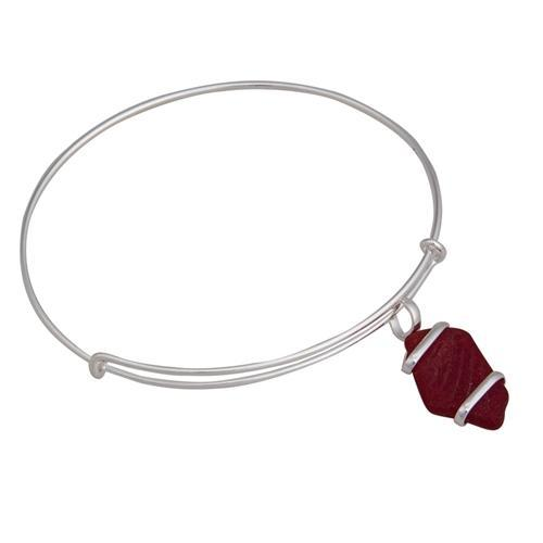 Alpaca Recycled Glass Freeform Adjustable Charm Bangle - Red | Charles Albert Jewelry