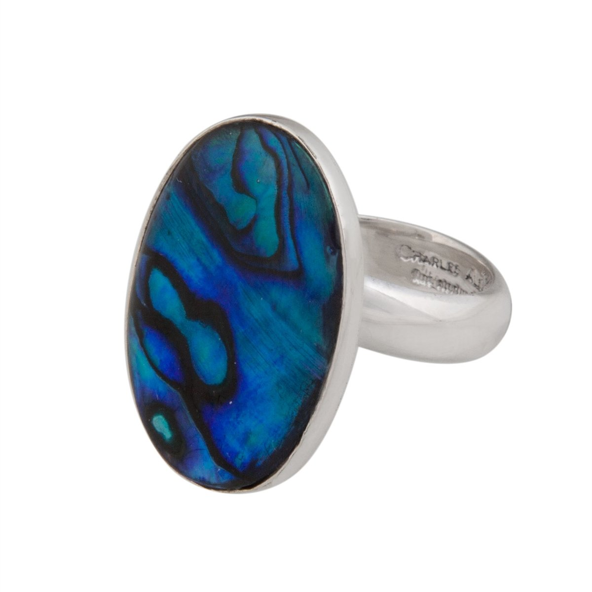 Sterling Silver Oval Blue Abalone Adjustable Ring | Charles Albert Jewelry