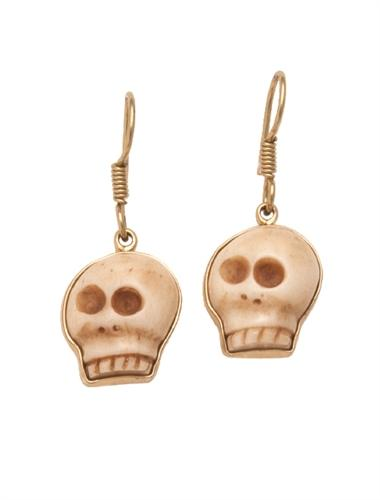 Alchemia Carved Bone Skull Earrings - Drop | Charles Albert Jewelry