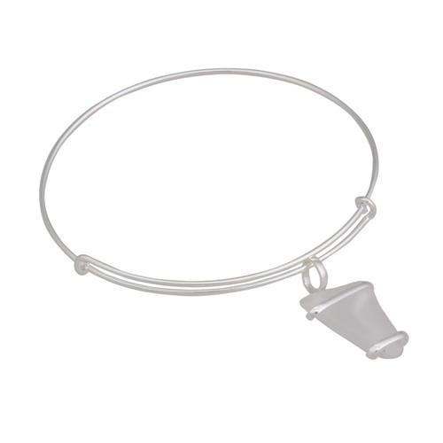 Alpaca Recycled Glass Freeform Adjustable Charm Bangle - White | Charles Albert Jewelry