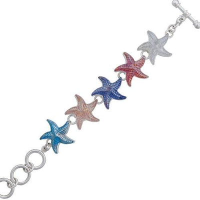 Sterling Silver Recycled Iridescent Glass Starfish Bracelet