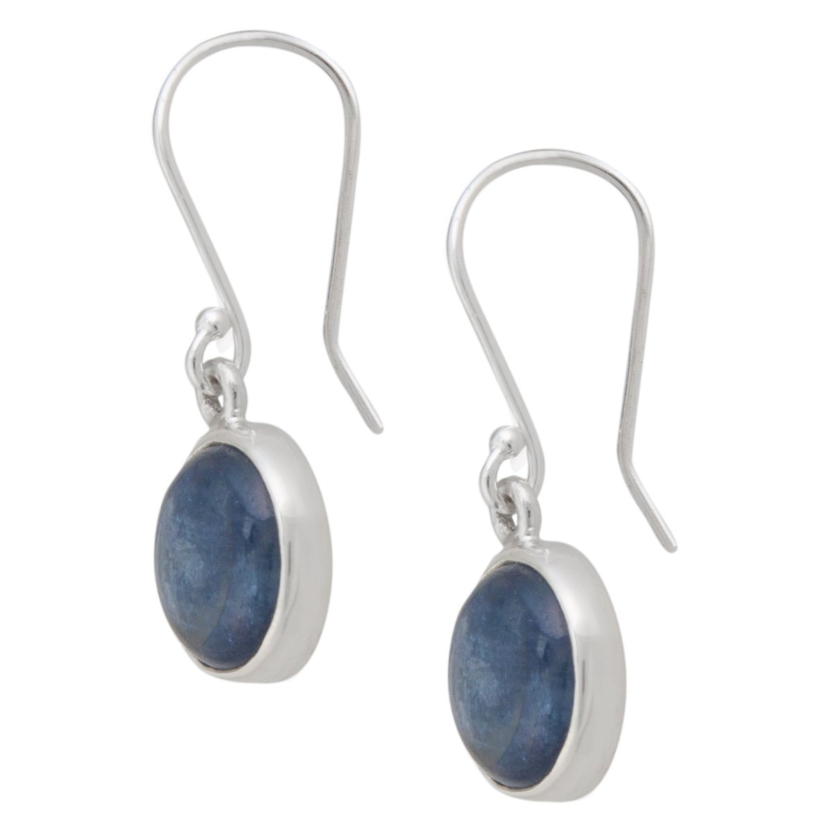 Sterling Silver Round Kyanite Drop Earrings | Charles Albert Jewelry