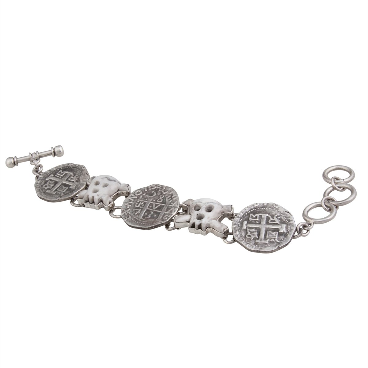 Sterling Silver Replica Treasure Coin and Howlite Skull Bracelet | Charles Albert Jewelry