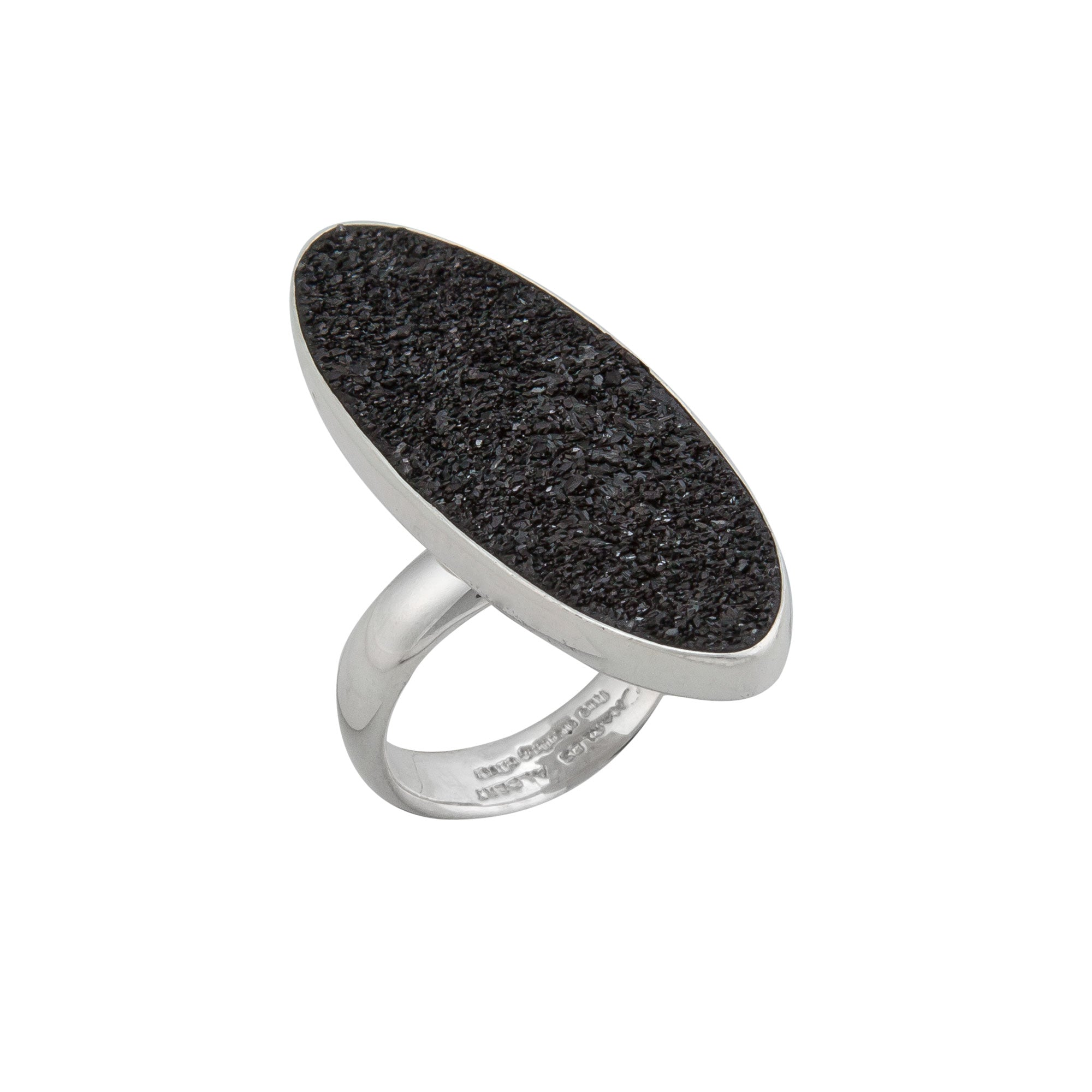 Sterling Silver Ellipse Black Druse Adjustable Ring | Charles Albert Jewelry