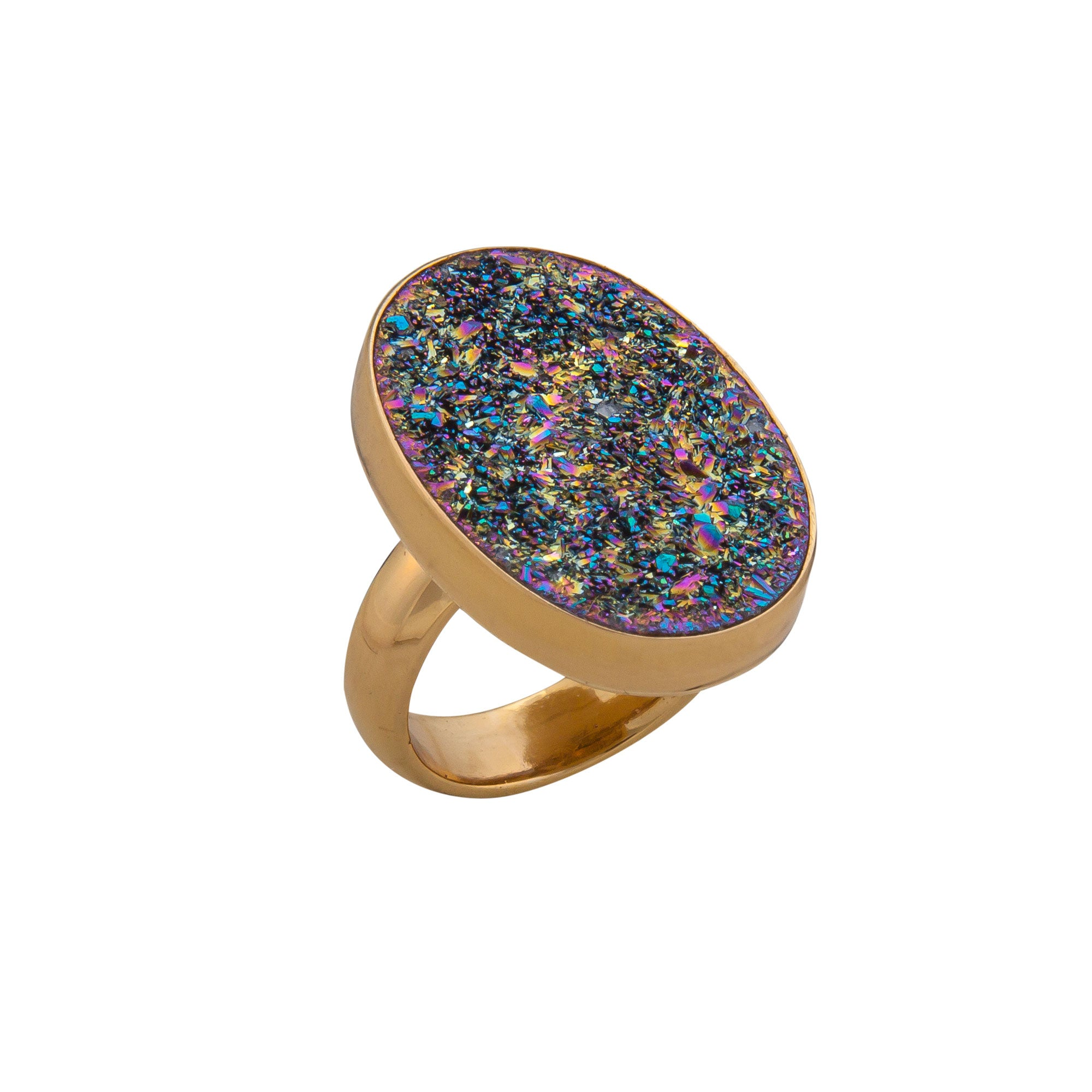 Alchemia Titanium Druse Oval Adjustable Ring | Charles Albert Jewelry