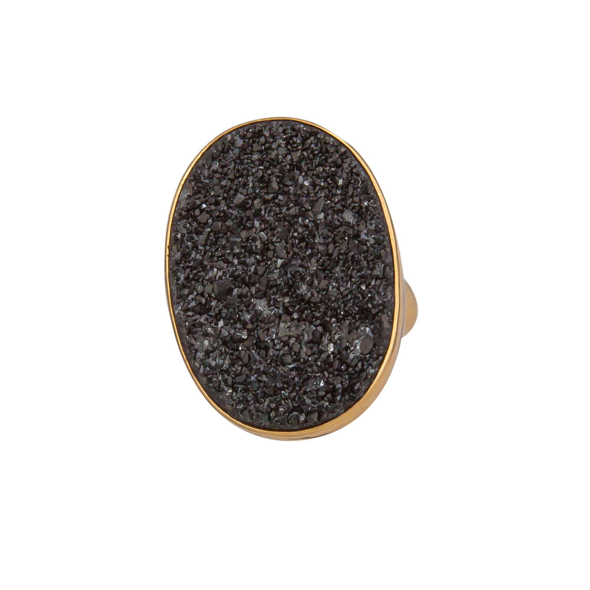 Alchemia Black Druse Oval Adjustable Ring