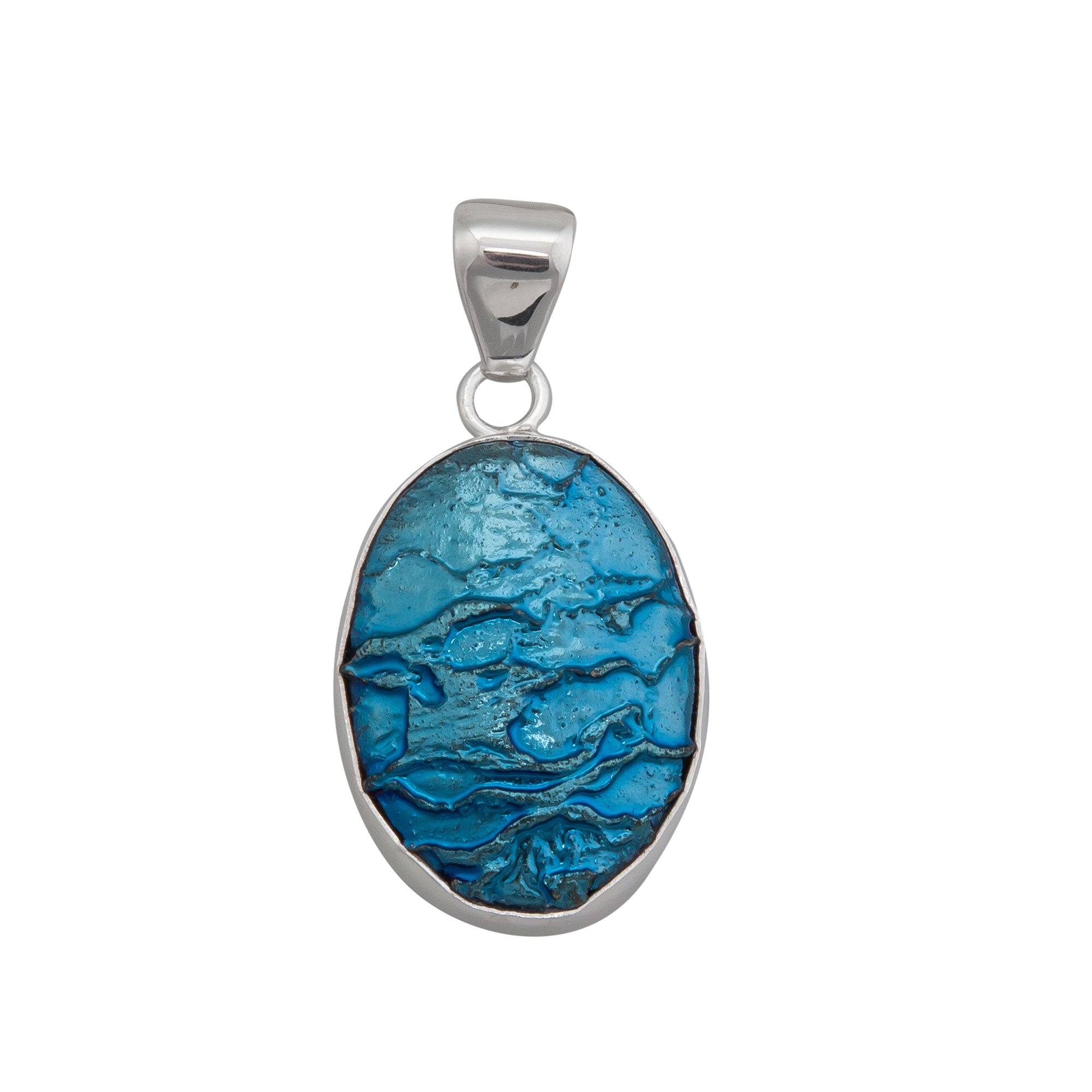 Sterling Silver Blue Fossil Dragon Stone Pendant | Charles Albert Jewelry