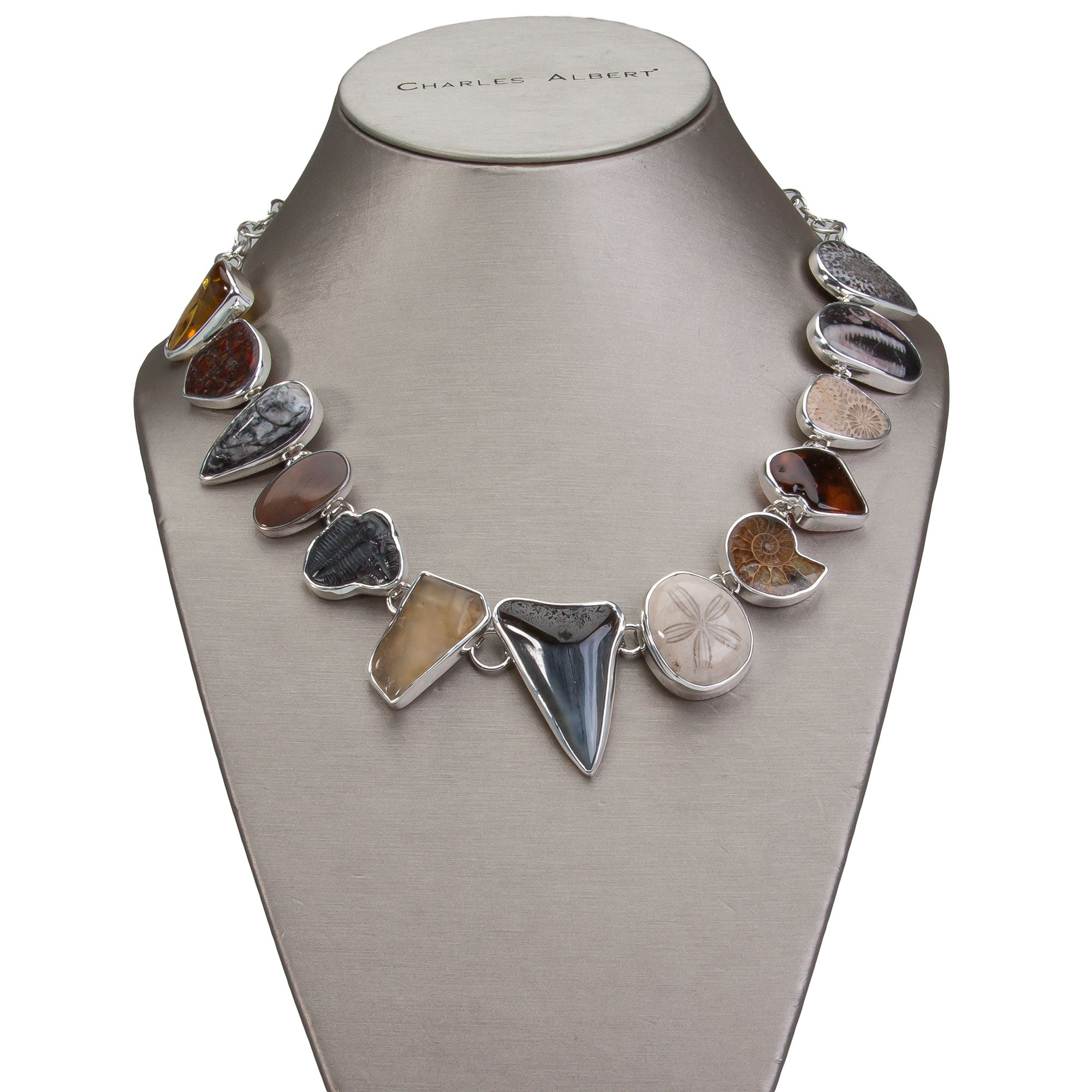 Sterling Silver Multi-Fossil Necklace | Charles Albert Jewelry