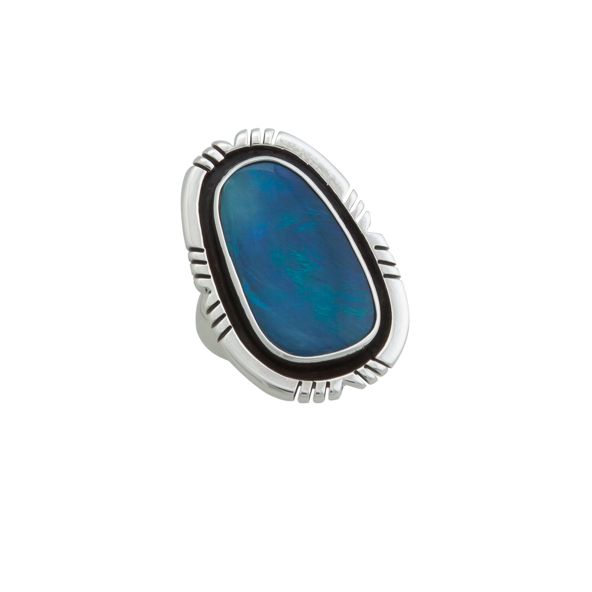Sterling Silver Opal Adjustable Ring With Detailed Edge | Charles Albert Jewelry