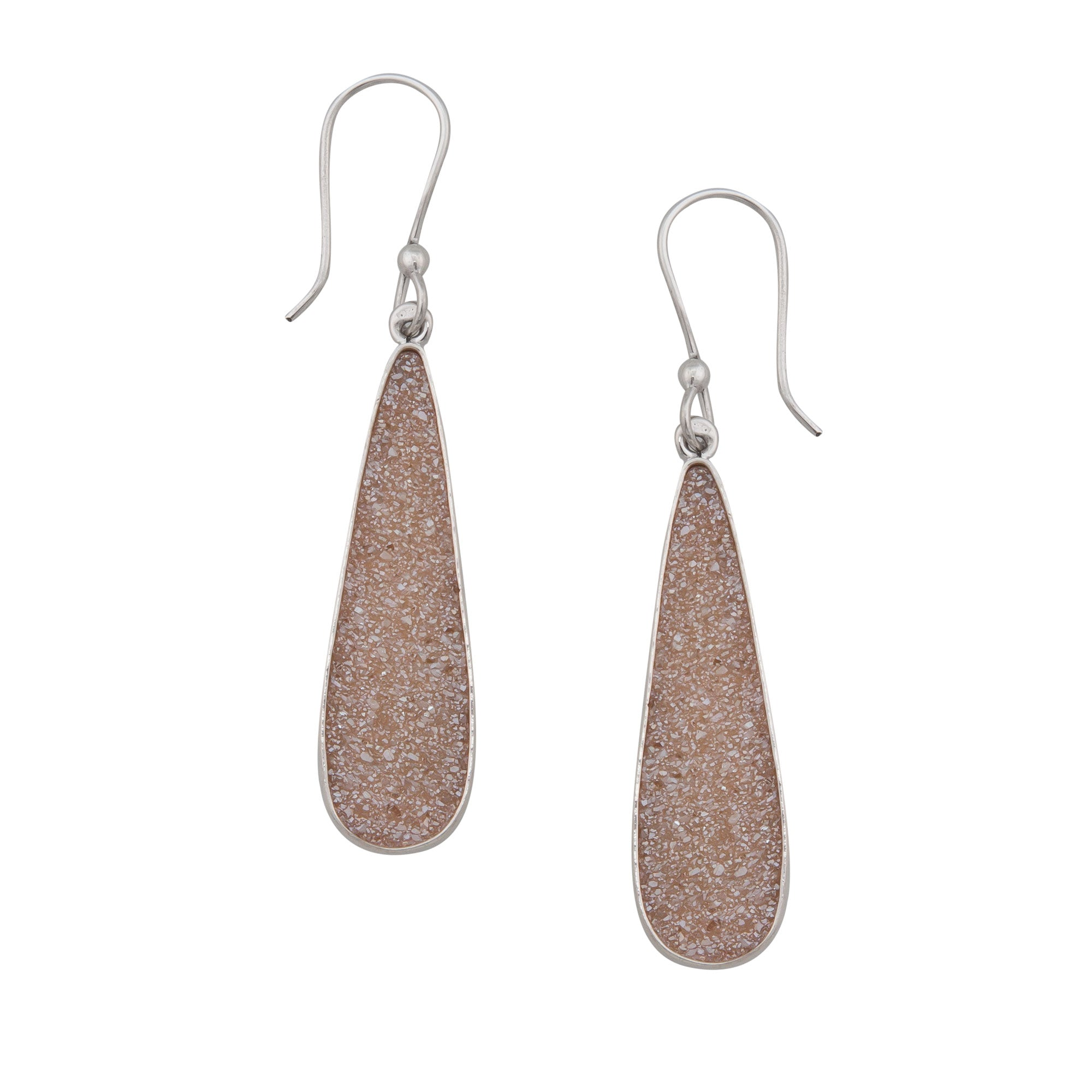 Sterling Silver Teardrop Peach Druse Drop Earrings | Charles Albert Jewelry