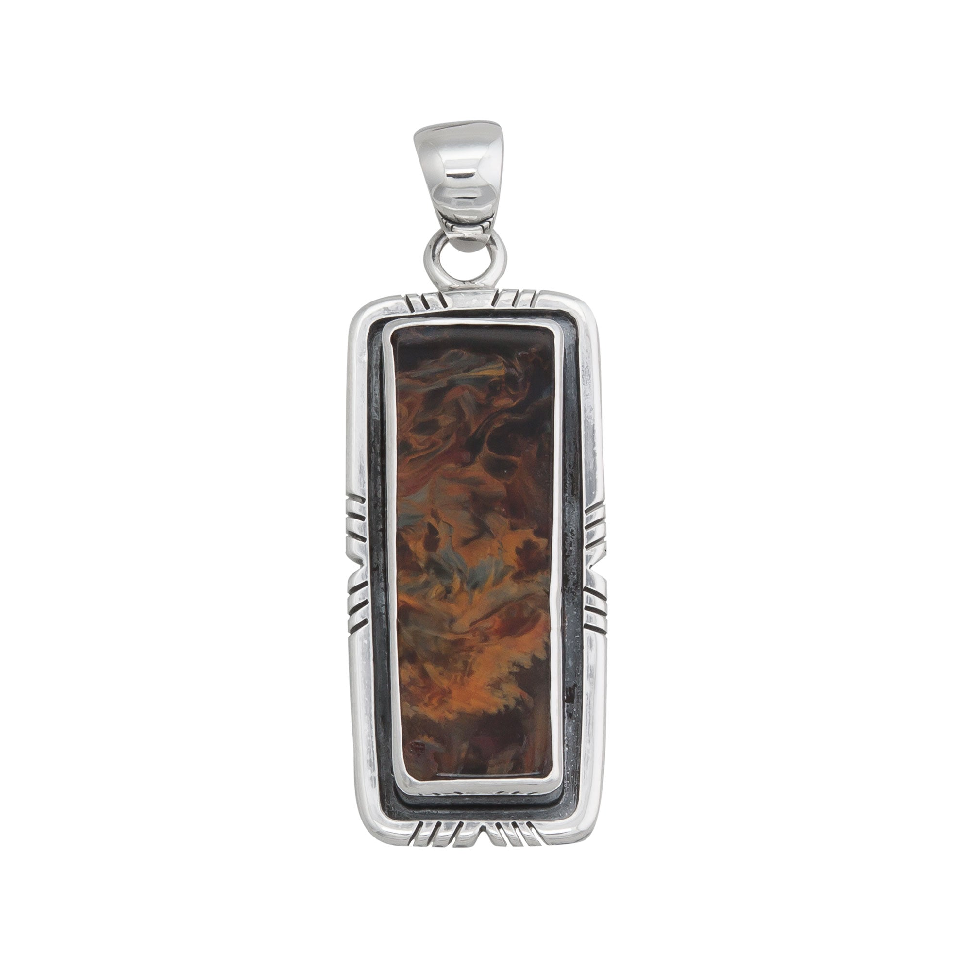 Sterling Silver Pietersite Pendant with Detailed Edge | Charles Albert Jewelry