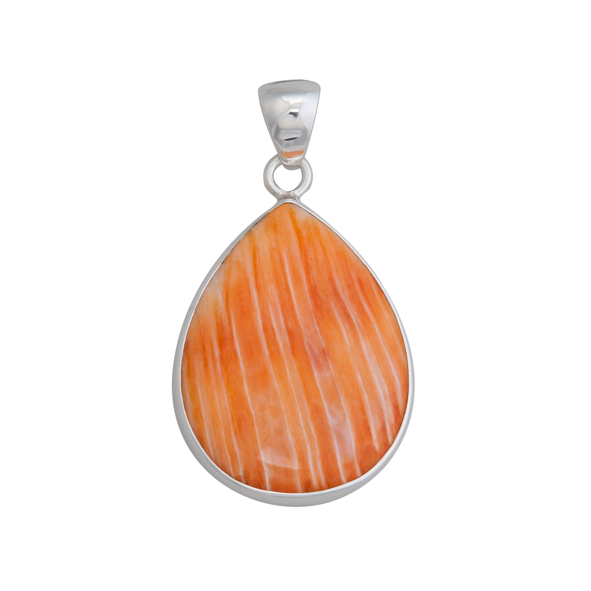 Sterling Silver Orange Shell Taerdrop Pendant