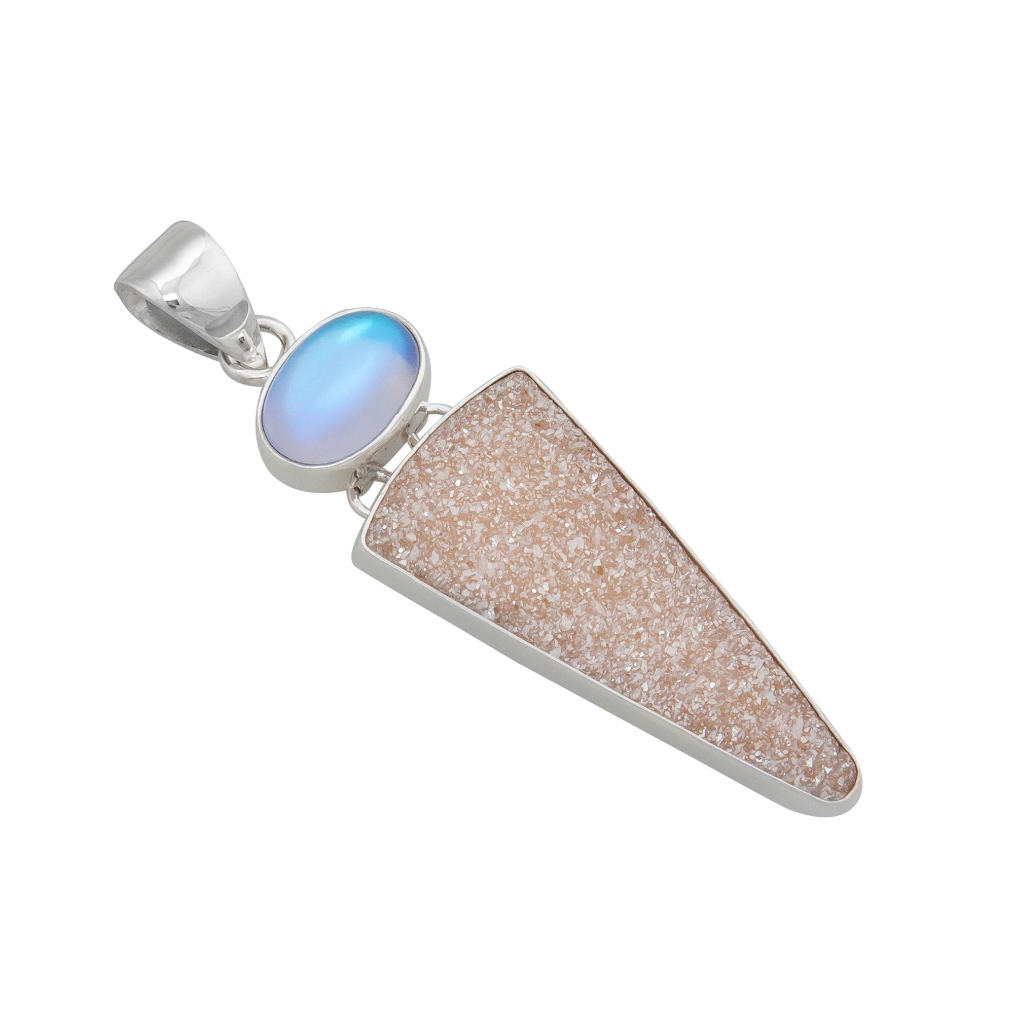 Sterling Silver Luminite and Peach Druse Pendant | Charles Albert Jewelry